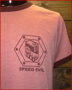 "【MIX TRIM T-SHIRT】""SPEED EVIL"" FRONT"