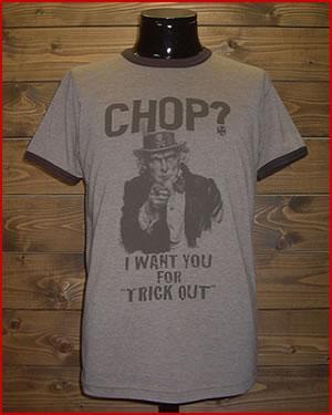 "【MIX TRIM T-SHIRT】 ""CHOP?"""